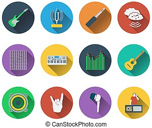 set, muzikalisch, iconen