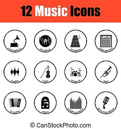 set, muzikalisch, icons.