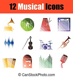 set, muzikalisch, pictogram