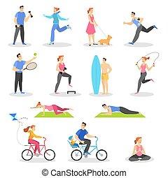 set., na wolnym powietrzu, heallthy, sport, ruch, działalność, styl życia