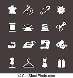 set, naaiwerk, naaiwerk, uitrusting, vector, pictogram