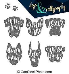 Set names of dog breeds in calligraphy handmade design - Set...