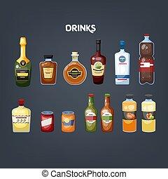 set., napój, zbiór, szkło, napój, różny, butelka