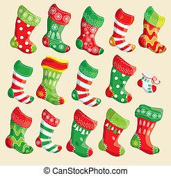 set, natale, anno, elementi, vario, stockings., nuovo,...