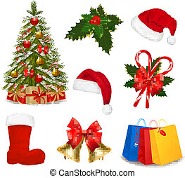 set, natale, objects., vector.
