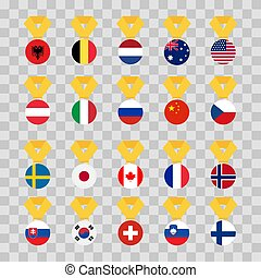 Set national flags of the world on transparent background. Medal with the flag - vector illustration