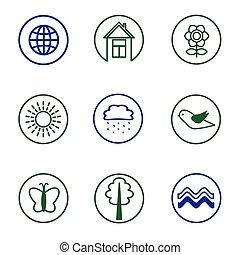 set, natura, icone