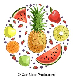 set, naturale, berries:, fette, vegan., vegetariano, sano, succoso, cibo., summer., fetta, mele, fragole, anguria, frutte, arancia, fresco, fruits., ananas, blueberries.