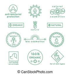 set, naturale, icone, vettore, cosmetica, linea, tesserati magnetici