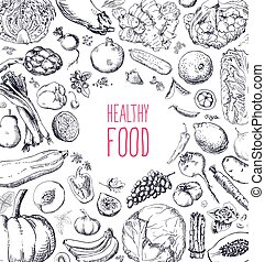 set, naturale, ristorante, cibo, menu, vegan, disegno, ...