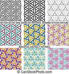 set, naturale, sfondi, seamless, modelli, nove, textured