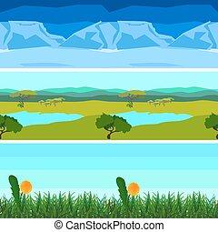 Set nature backgrounds horizontal tile patterns seamless