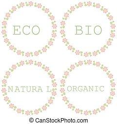 set, natuurlijke , eco, organisch, bio, labels.