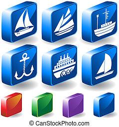 set, nautisch, schip, pictogram, tv nieuws , 3d