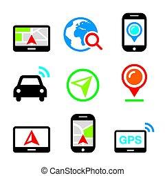 set, navigazione, icone, automobile, viaggiare, vettore, gps