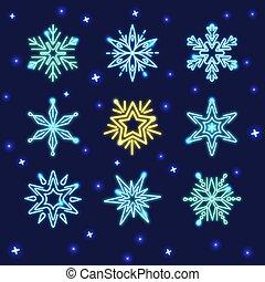 set, neon, fiocchi neve