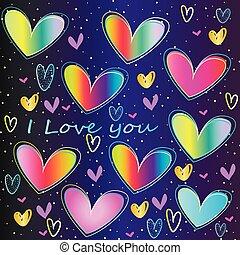 set - Neon Hearts - St. Valentine's Day