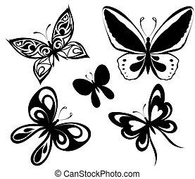 set, nero, bianco, farfalle, di, uno, t
