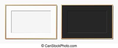 set, nero, bianco, frames., orizzontale, legno