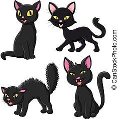 set, nero, cartone animato, collezione, gatto