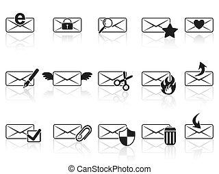 set, nero, email, icone