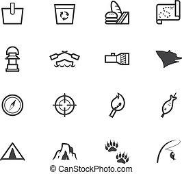 set, nero, icona, campeggiare