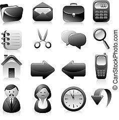 set, nero, icone