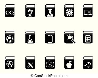 set, nero, libro, icone