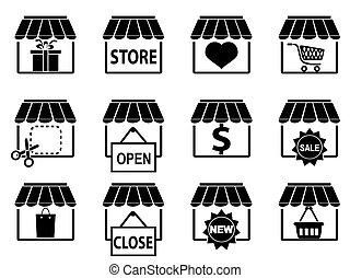 set, nero, negozio, icone