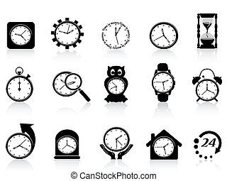 set, nero, orologio, icona