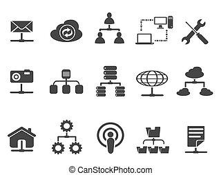 set, nero, rete, icone