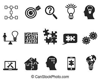 set, nero, soluzione, icone