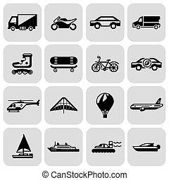 set, nero, trasporto, icone