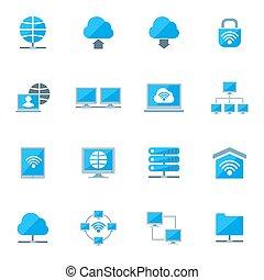 set, netwerk, iconen