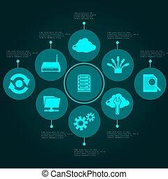 set, netwerk, infographics
