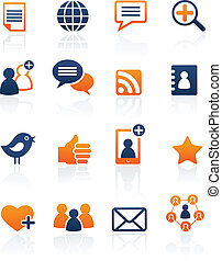 set, netwerk, media, iconen, vector, sociaal