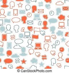 set, netwerk, media, seamless, textuur, sociaal, pictogram