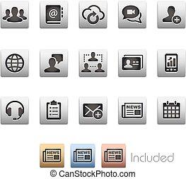 set, netwerk, zakelijk, reeks, -, technologie, metalbox, pictogram