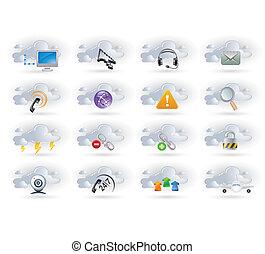 set, networking, wolk, iconen
