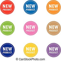 set new product on white background. flst style. new product label, sticker, seal.