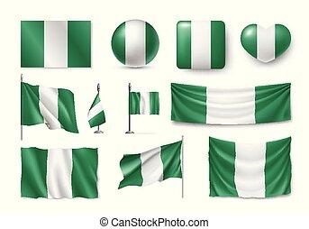 Set Nigeria flags, banners, symbols, flat icon