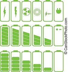 set, niveau, batterij, aanklacht, indicatoren, .set, ...
