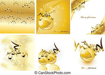 set., noël, vecteur, doré, conception, illustration.