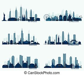 Set North American citie New York Chicago Phoenix -...