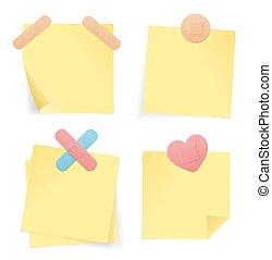 set., nota amarela, vetorial, papel, vara