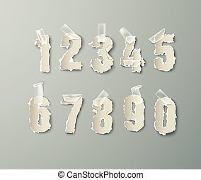 set numbers from torn paper with tape