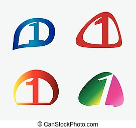 set, numero, 1, sagoma, logotipo, icona