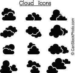 set, nuvola, icona