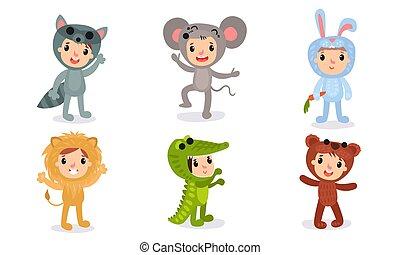 set, o, cartoni animati, vacanza natale, bambino, vettore, sei, caratteri, ventilatore, bambini, differente, costumi, illustrazioni