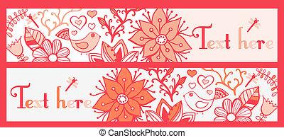 set, o, quattro, bandiere, orizzontale, floreale, elegante, bookmarks, bandiere